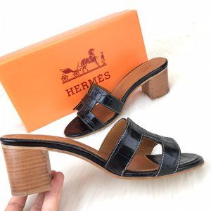 Hermes Oran Sandals Croco